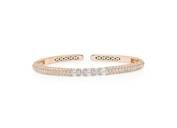White Diamond Clip-On Bangle - 18kt Rose Gold