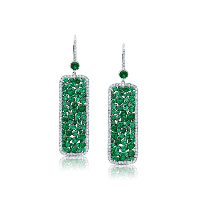 Champagne Collection Emerald Rectangle Earrings