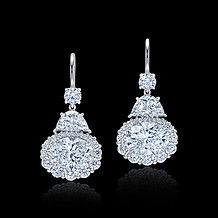 Half-Moon and Oval Drop Diamond Earrings