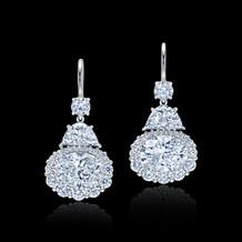 Half-Moon and Oval Drop Diamond Earrings