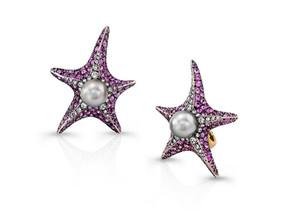Pink Sapphire Starfish Earrings
