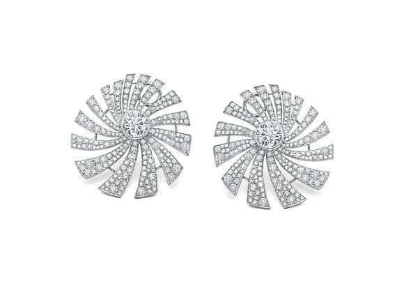 Diamond Pave Pinwheel Swirl Earrings