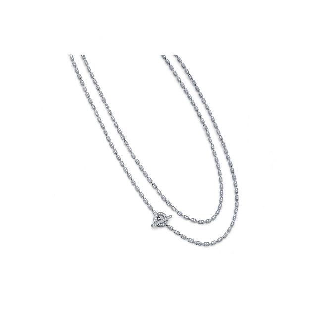 Diamond Box Chain Necklace - 18kt White Gold