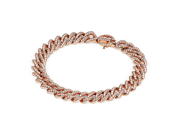 Pave' Link Bracelet in Rose Gold