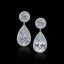 Pear Shaped White Diamond Drop Earrings