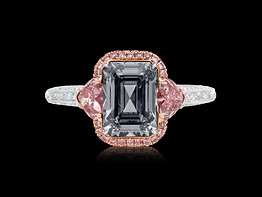 Fancy Dark Grey and Pink Diamond Ring