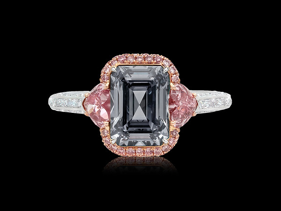 Fancy Dark Grey and Pink Diamond Ring