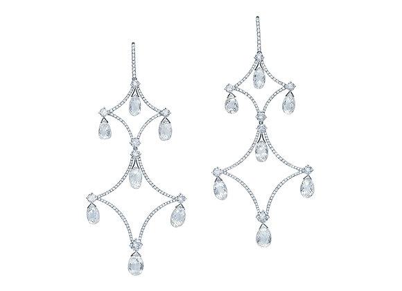Diamond Briolette Chandelier Earrings