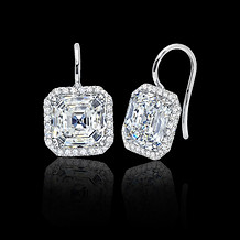 Asscher White Diamond Earrings