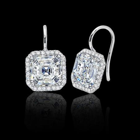 Asscher White Diamond Earrings