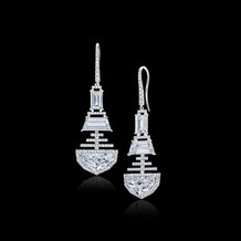 Half Moon and Trapezoid Diamond Earrings