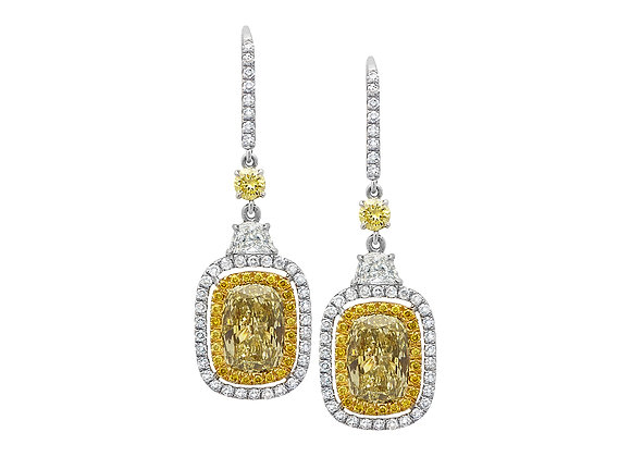Fancy Cushion Yellow Diamond Earrings