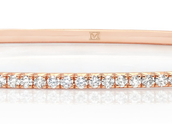 White Diamond Microbangle in 18KT Rose Gold