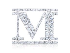 """White Gold """"M"""" Pin"""
