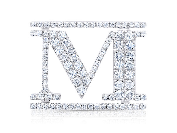 "White Gold ""M"" Pin"
