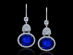 Oval Blue Sapphire Earrings