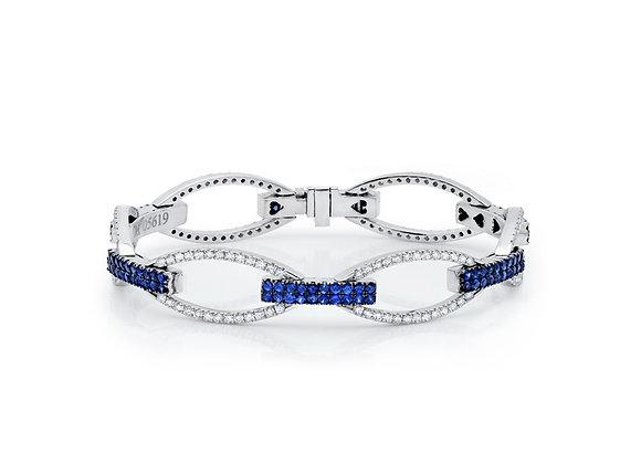 White Diamond & Blue Sapphire Oval Link Bracelet