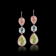 Mixed Shape Fancy Colored Diamond Earrings