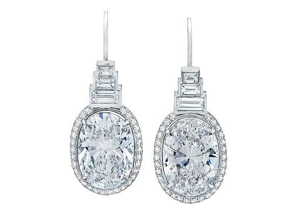 Geometric Oval Drop Earrings