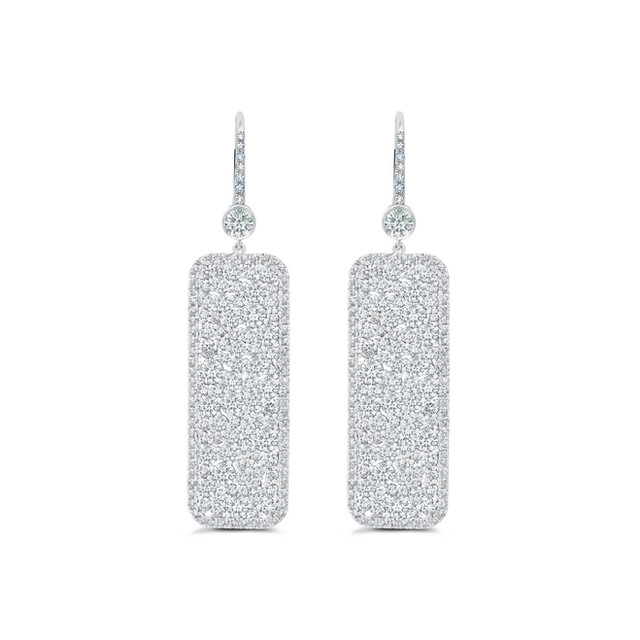 Chanmpagne Collection Diamond Rectangle Earrings