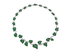 Tsavorite and Diamond Ivy necklace