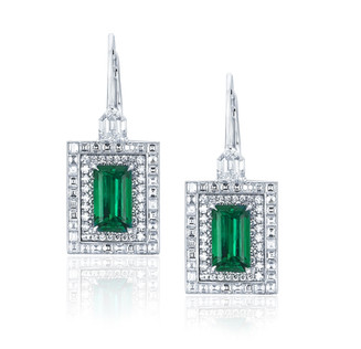 Emerald and Carre Diamond Earrings