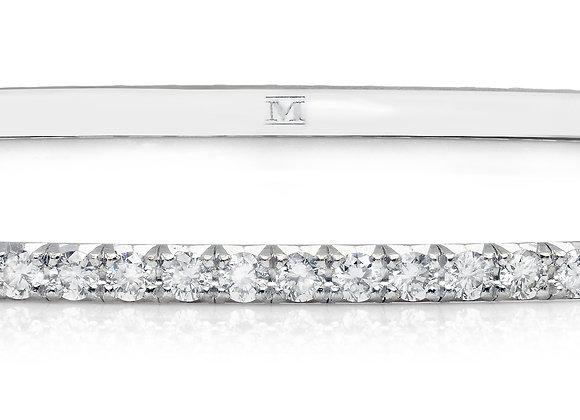 Microbangle White Diamond & 18K White Gold