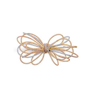 Medium Pink & White Diamond Bow Pin