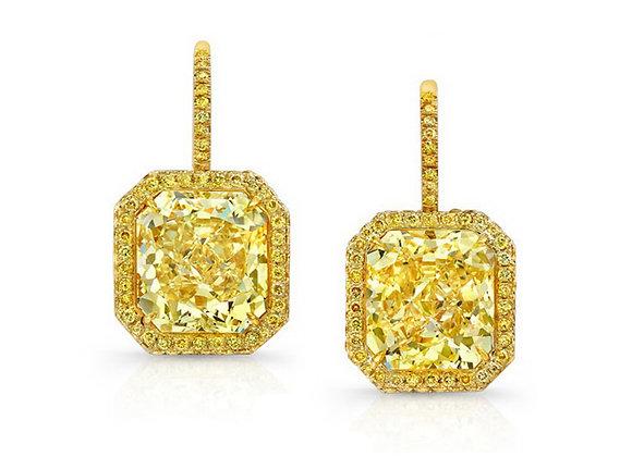 Microset Radiant Yellow Diamond Earrings