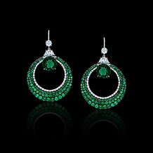 Round Emerald Half Moon Earrings