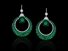 Round Emerald Half Moon Earrings