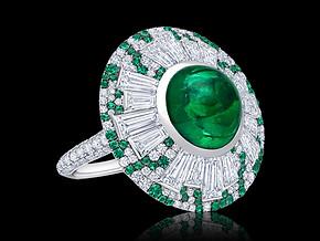 Round Emerald Parasol Ring