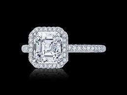 Micro Pave Asscher Cut Diamond Ring