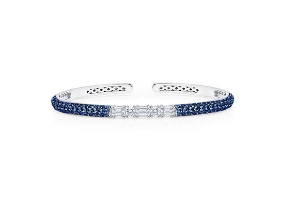 Blue Sapphire Clip-On Bangle - 18kt White Gold