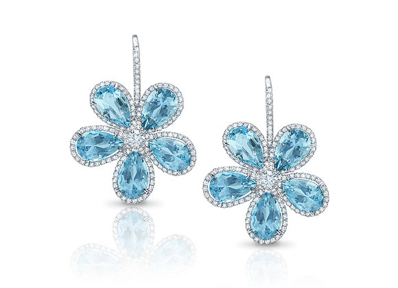 Aquamarine Flower Earrings