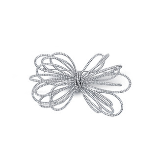 Large White Diamond Bow Pin