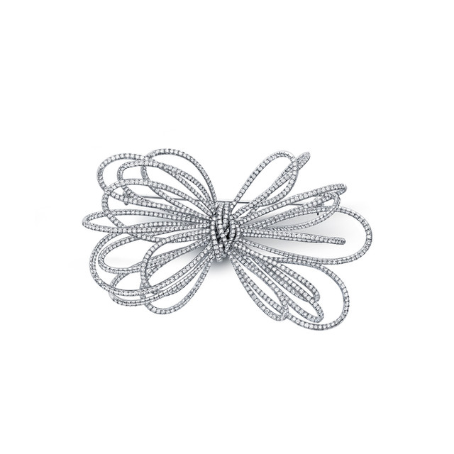 Large White Diamond Bow Pin