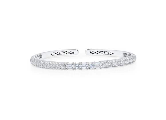 White Diamond Clip-On Bangle - 18kt White Gold