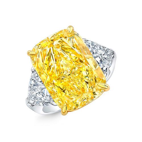 3-Stone Yellow Cushion-Cut Diamond Ring
