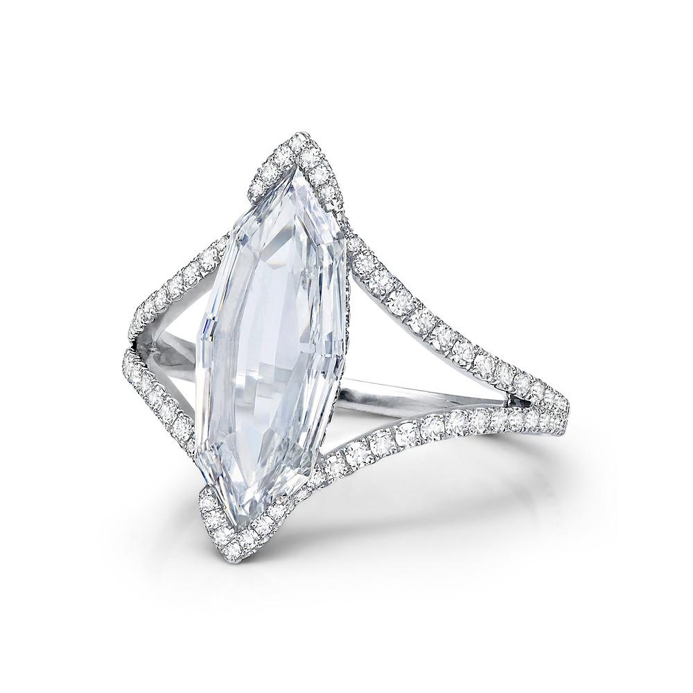 diamond ring emerald cut wedding bridal