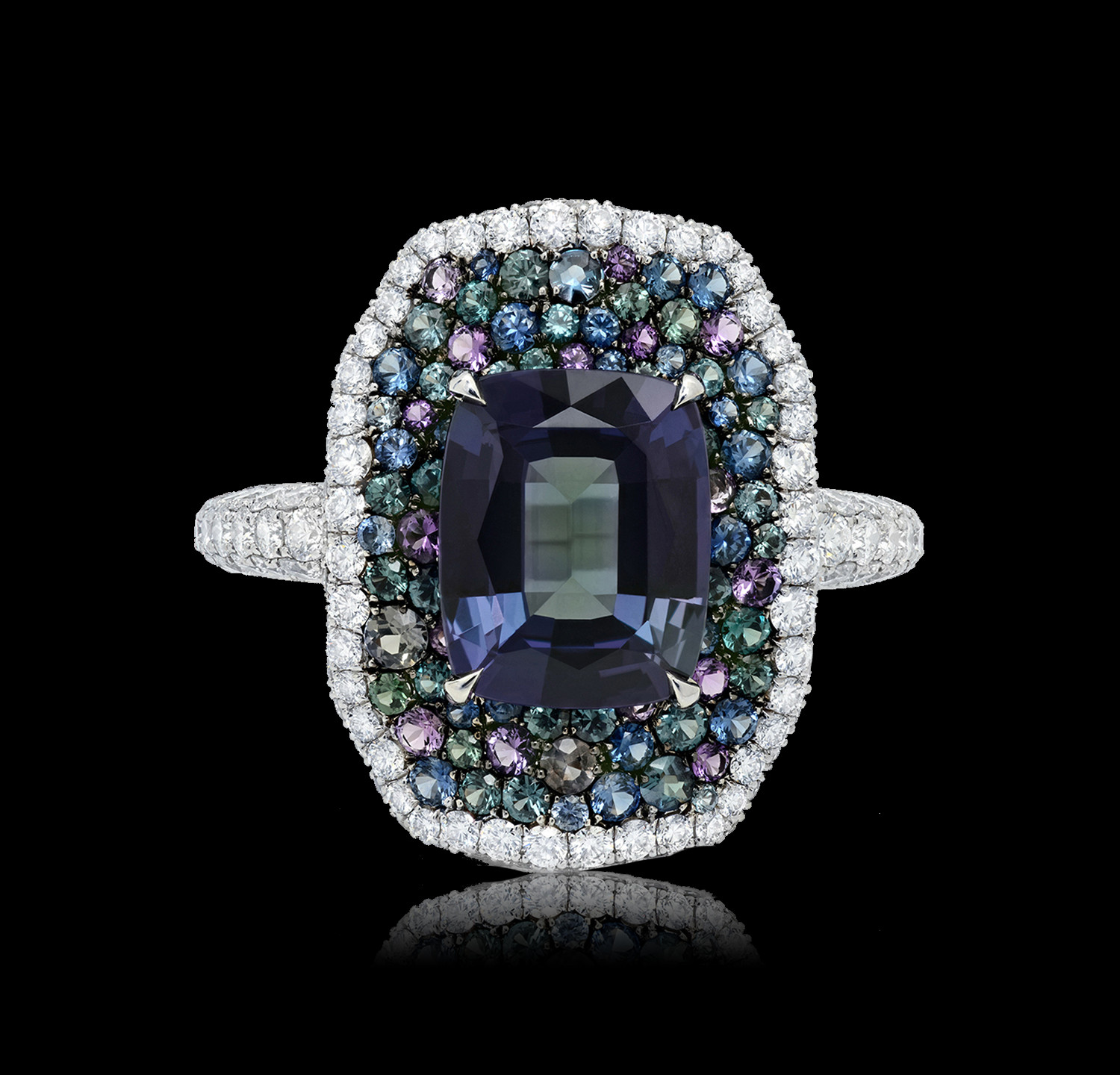 Cushion Brazilian Alexandrite Ring