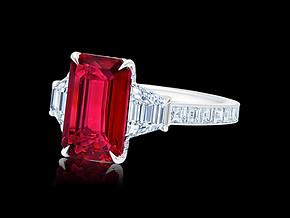 Emerald Cut Ruby Ring