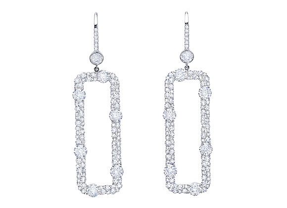 Open Rectangle Mosaic Diamond Earrings
