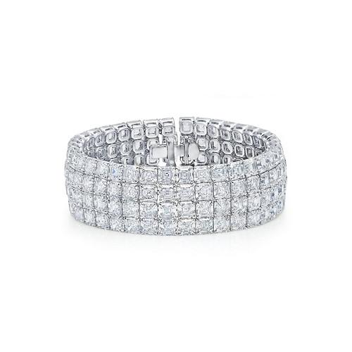 Asscher Diamond Cuff Bracelet
