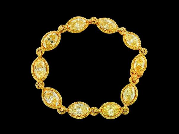 Yellow Diamond Marquise Link Bracelet