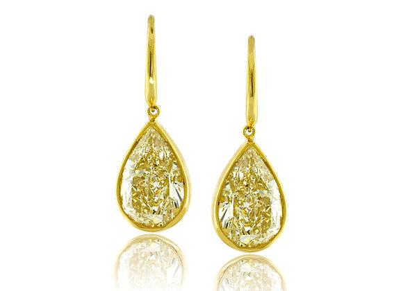 Pear Shaped Yellow Diamond Earrings