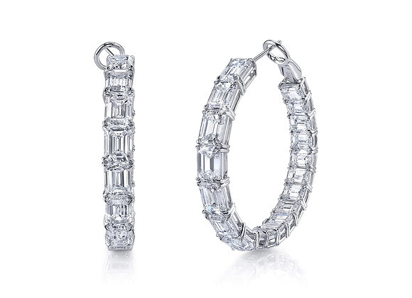 Emerald Cut Diamond Hoops