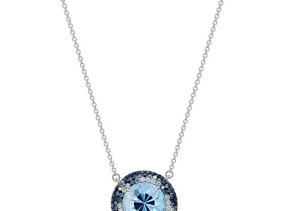 Aquamarine Button Pendant