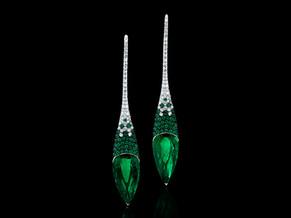 Pointe Emerald & Diamond Drop Earrings