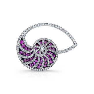 Pink Sapphire Nautilus Pin